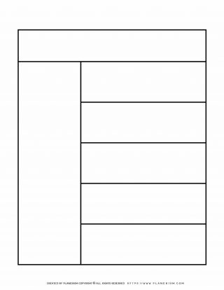 Graphic Organizer Templates - Chart with One Column and Five Rows | Planerium