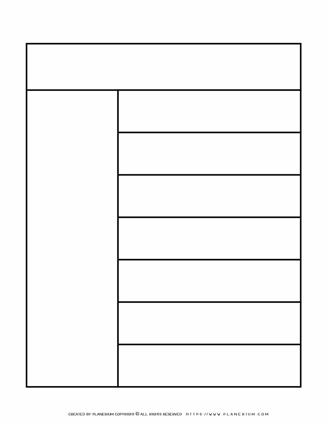 Graphic Organizer Templates - Chart with One Column and Seven Rows | Planerium