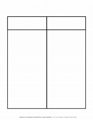 Graphic Organizer Templates - Chart with Two Column and One Row | Planerium