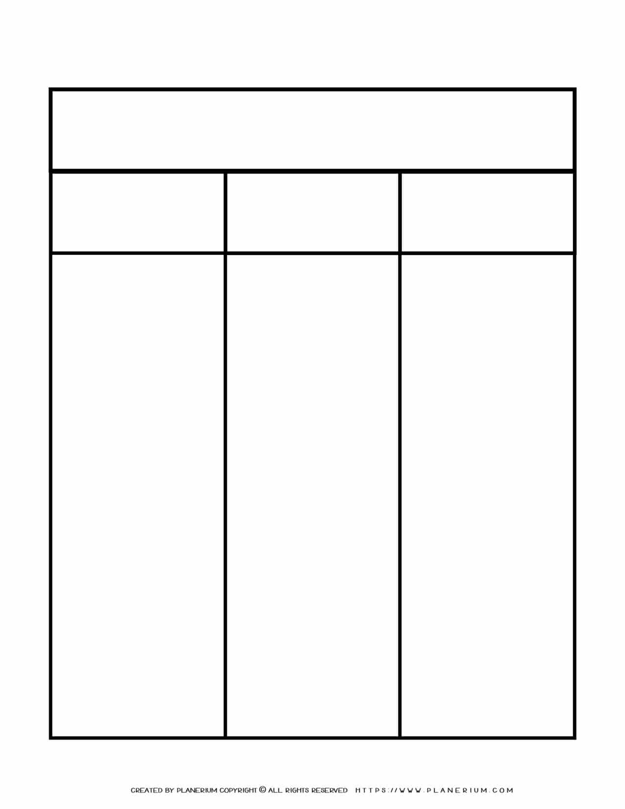 Graphic Organizer Templates - Chart with Three Columns and Two Rows | Planerium