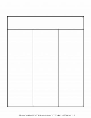 Graphic Organizer Templates - Chart with Three Columns | Planerium