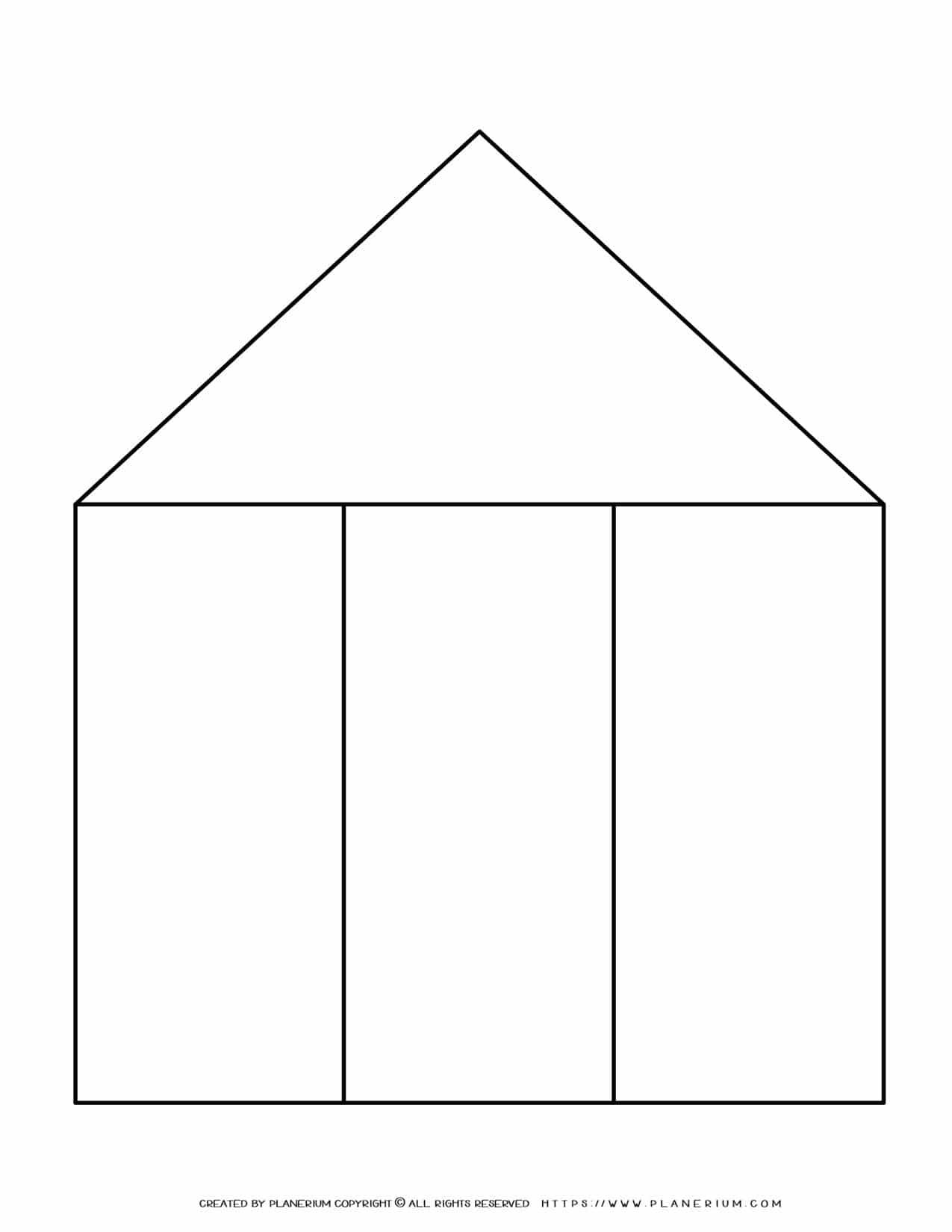 Graphic Organizer Templates - House Chart with Three Columns   Planerium