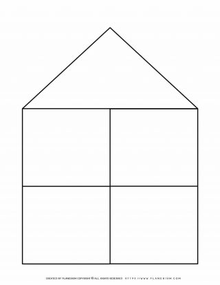 Graphic Organizer Templates - House Chart with Four Notes | Planerium