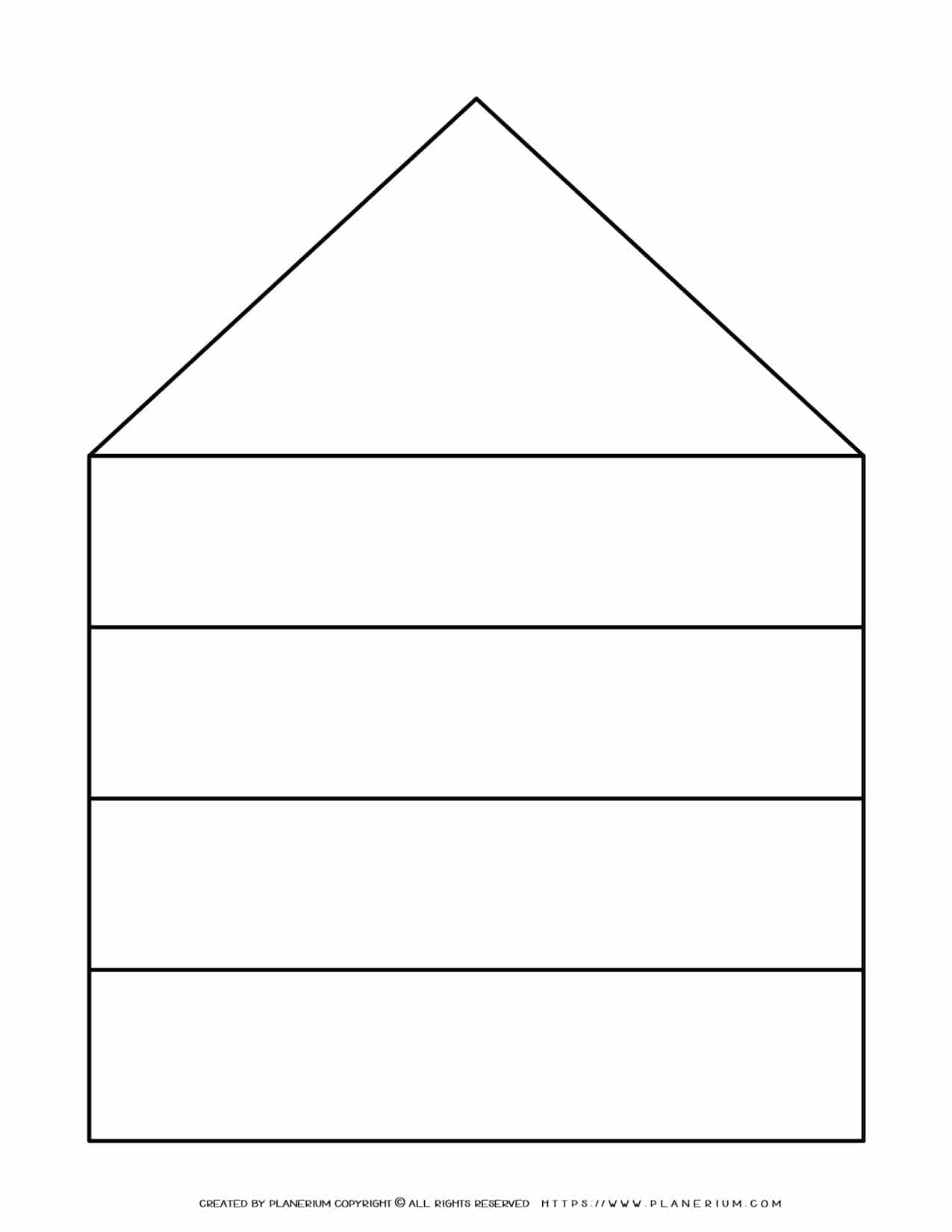Graphic Organizer Templates - House Chart with Four Rows | Planerium