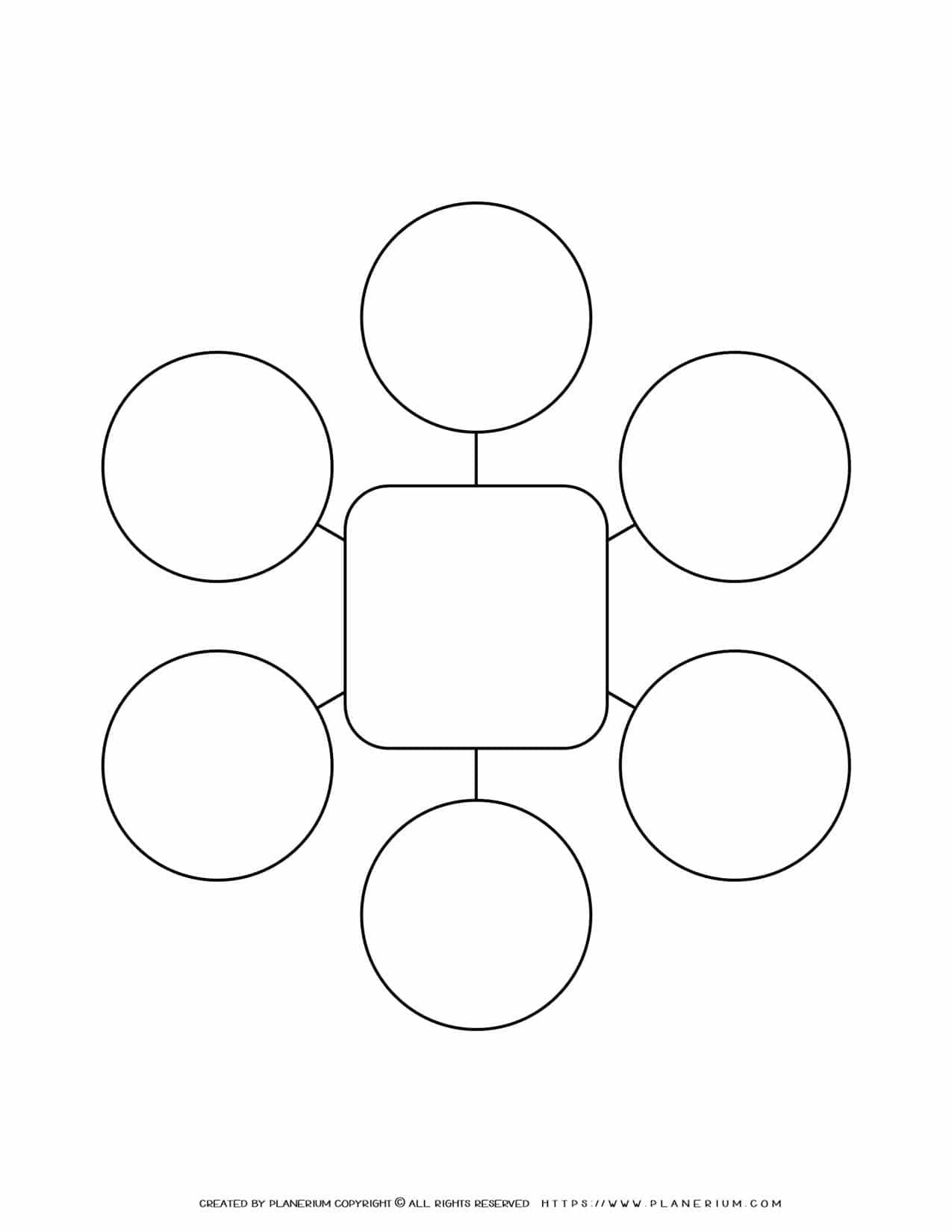 Mind Map Template - Six Ideas - Square | Planerium