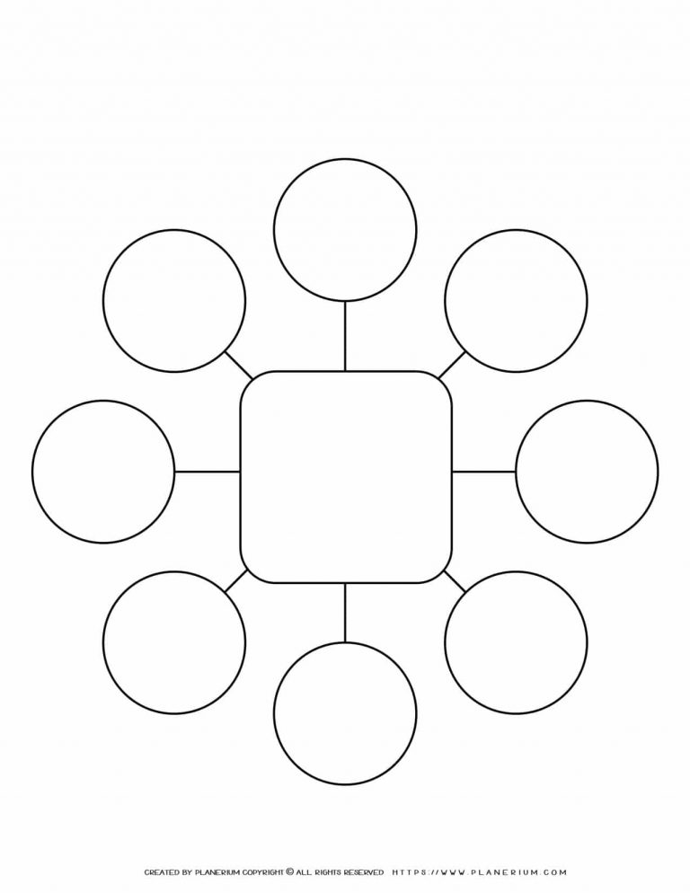 Mind Map Template - Eight Ideas - Square | Planerium