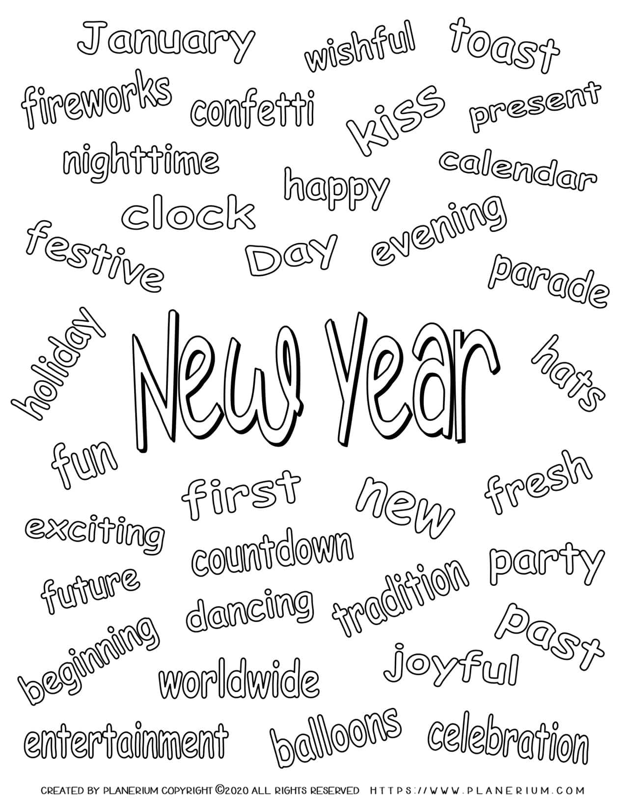 New Year Related Words | Planerium