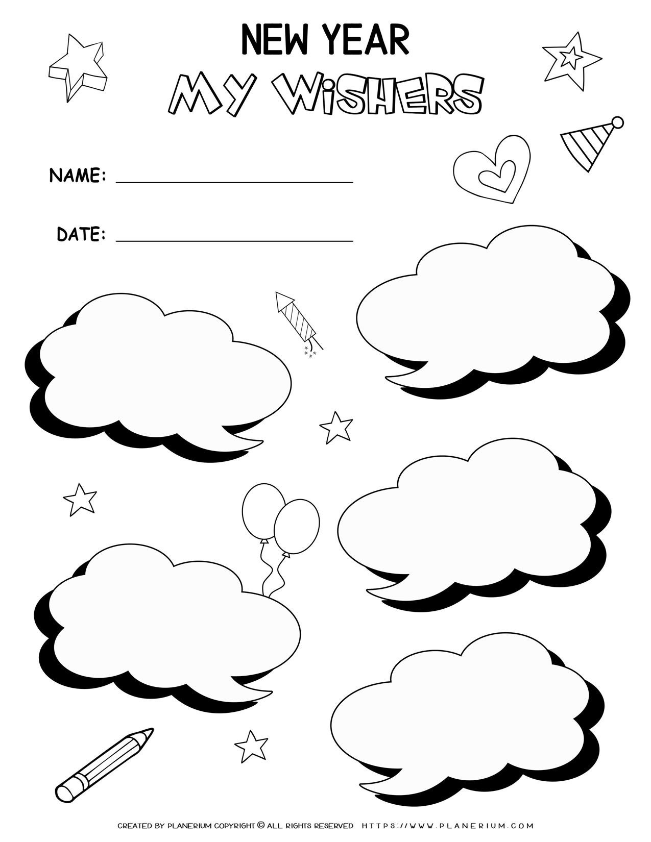 New Year Worksheets - My Wishes | Planerium