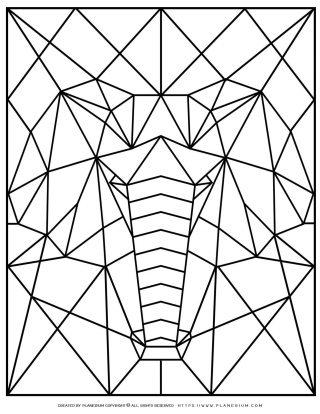 Animal Coloring Pages - Geometric Elephant | Planerium
