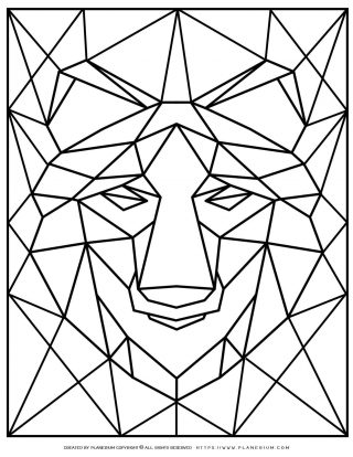 Animal Coloring Pages - Geometric Wolf | Planerium