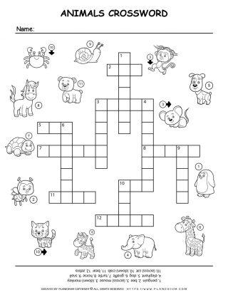 Animals Crossword | Planerium