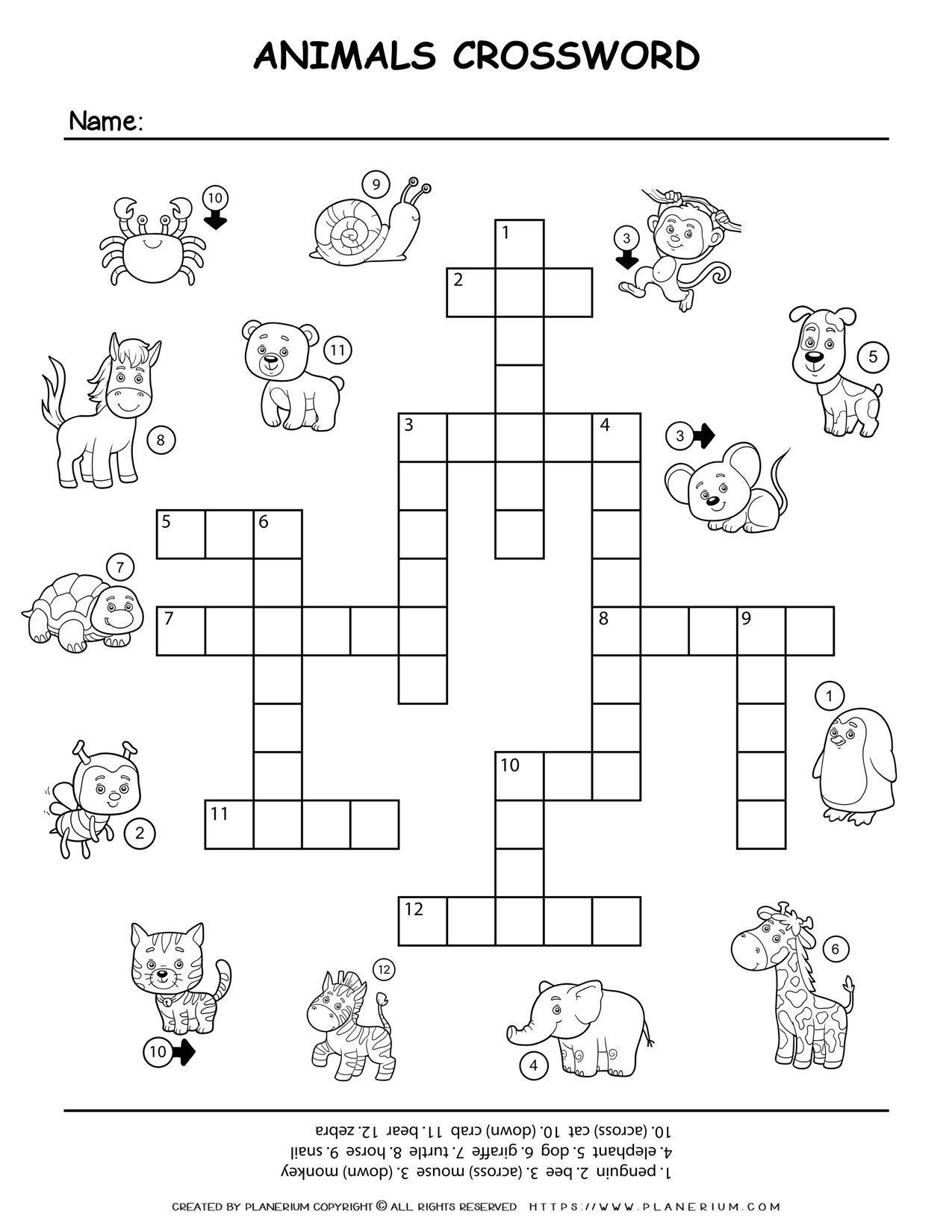 Animals Crossword   Planerium