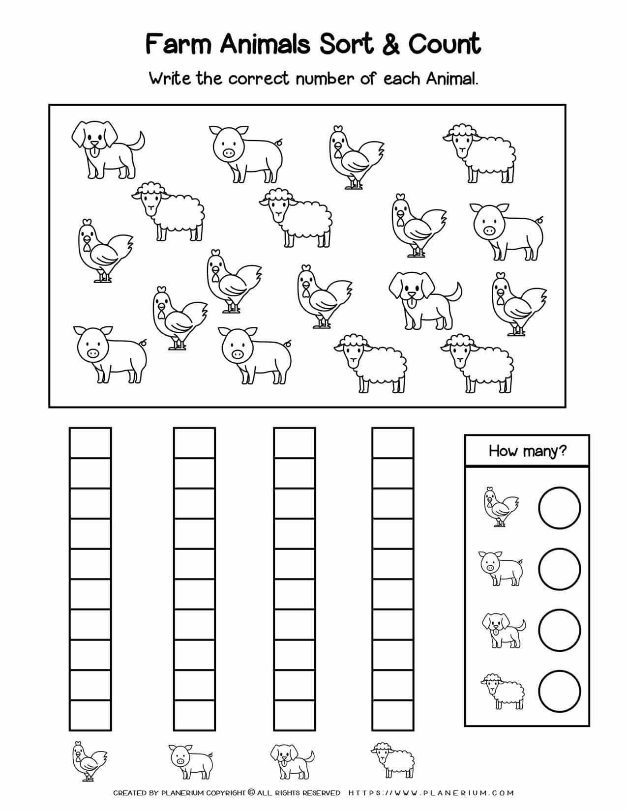 Counting Worksheets - Farm Animals | Planerium
