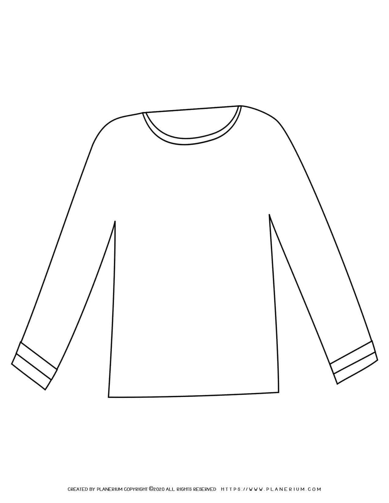 Long Sleeve Shirt Outline   Planerium