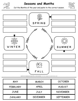 Seasons And Months - Matching Worksheet | Planerium