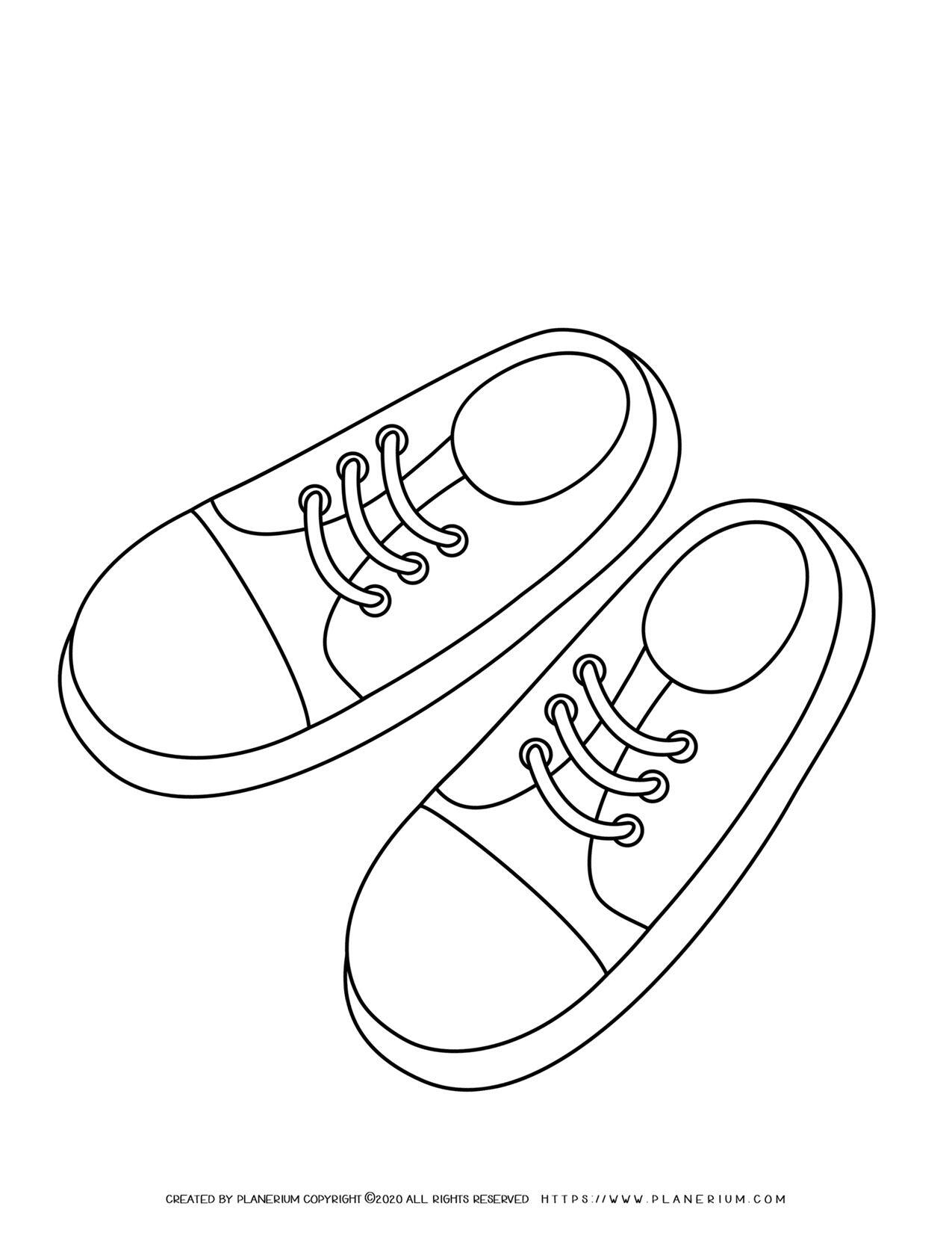 Sneakers Outline | Coloring Page | Planerium