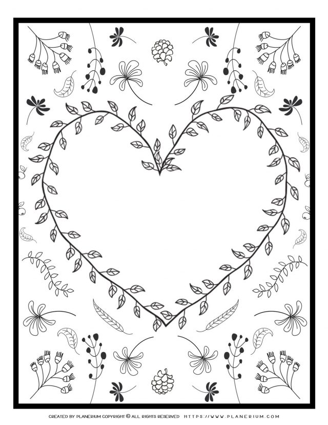 Adult Coloring Page - Heart Leaves Card | Planerium