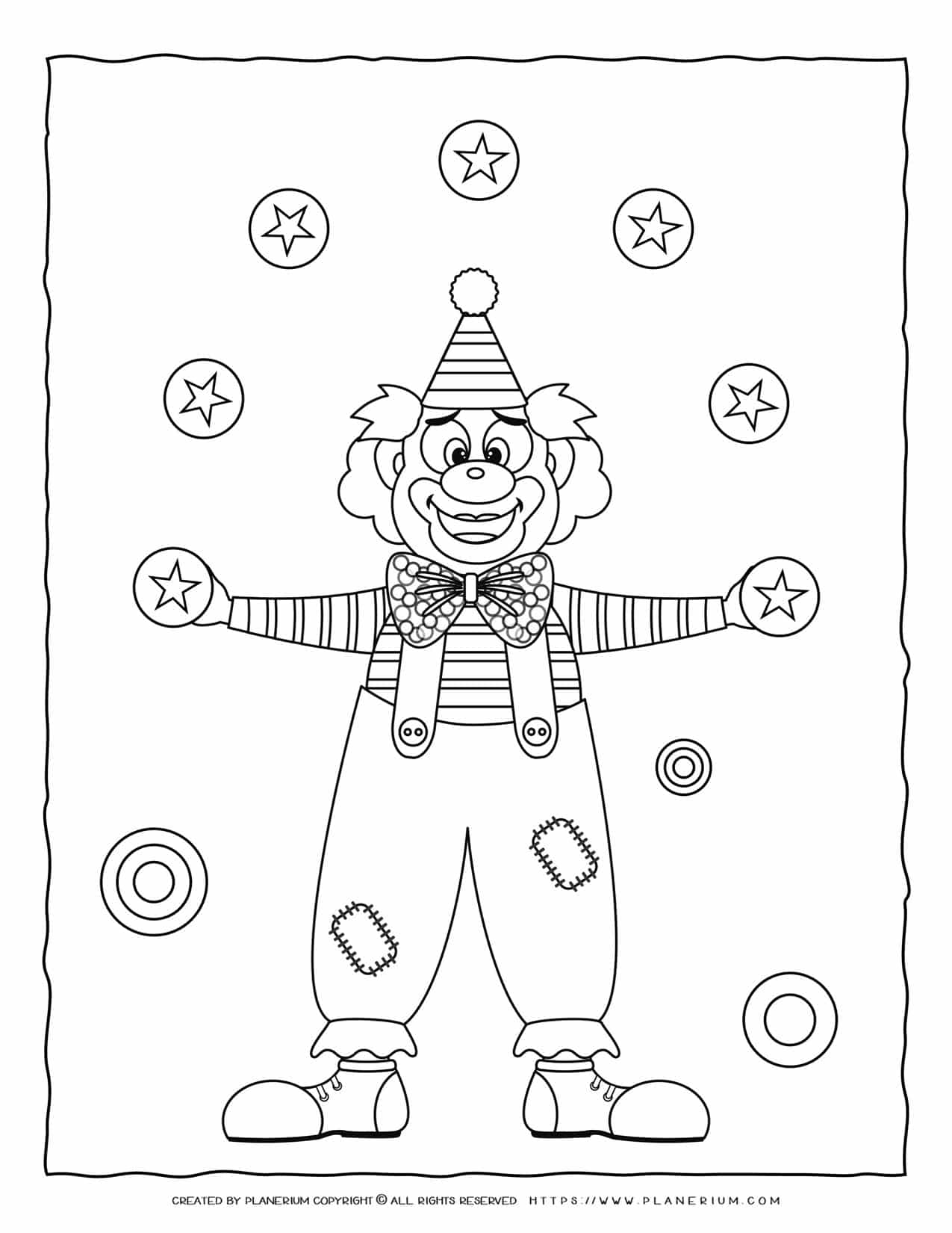 Carnival Coloring Page - Clown Juggling | Planerium