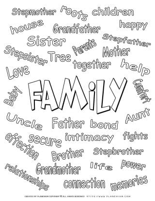 Coloring Pages - Family Related Words | Planerium