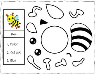 Cut and Glue Worksheet - Bee | Planerium