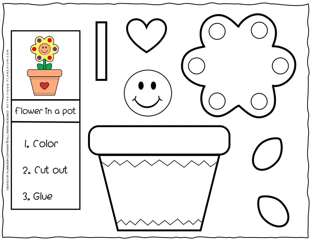 Cut and Glue Worksheet - Flower In a Pot | Planerium