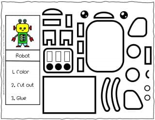 Cut and Glue Worksheet - Robot | Planerium