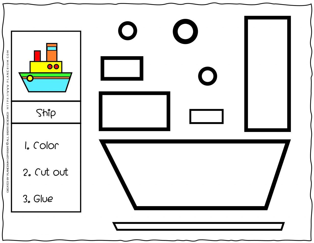 Cut and Glue Worksheet - Ship | Planerium