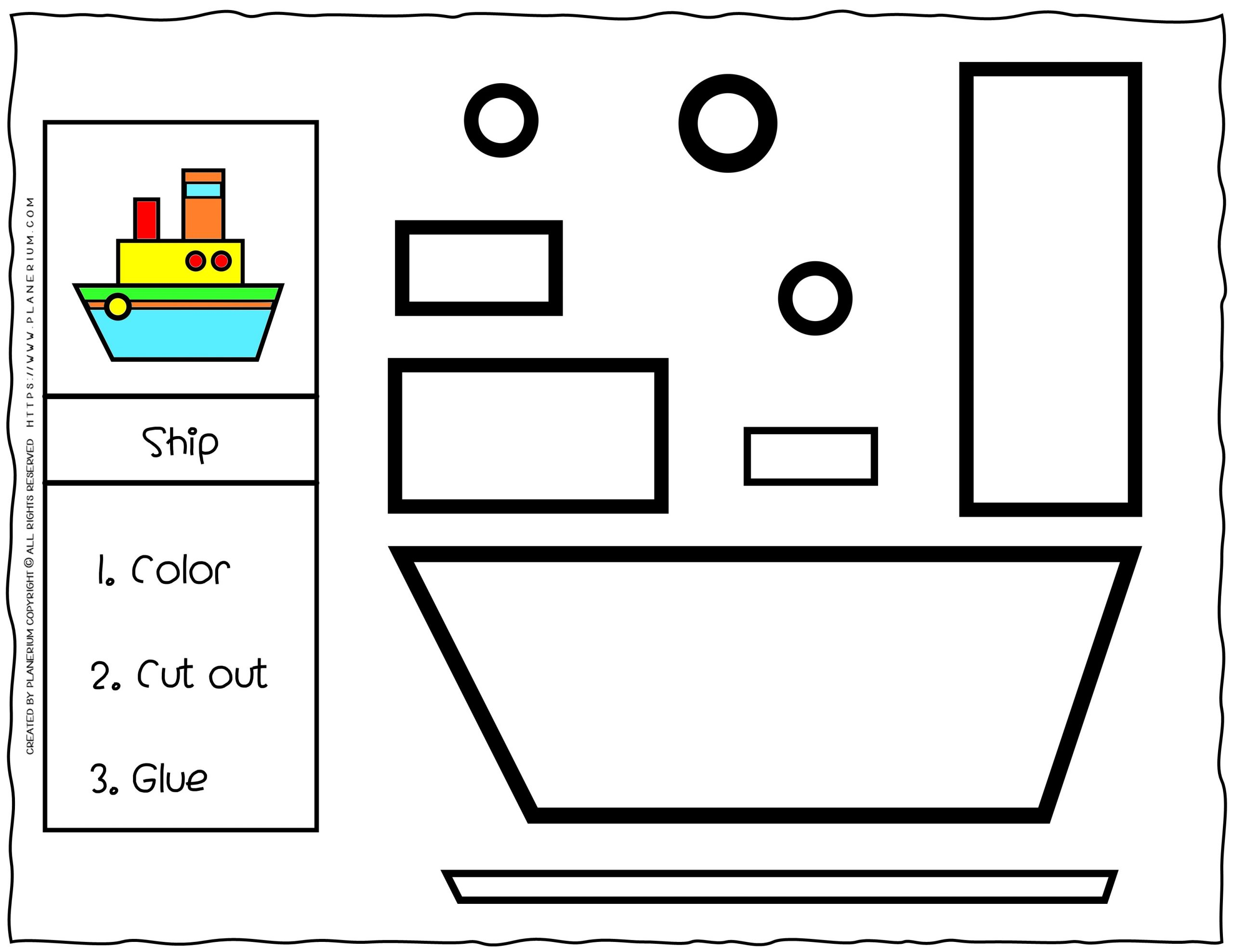 Cut and Glue Worksheet - Ship | Planerium