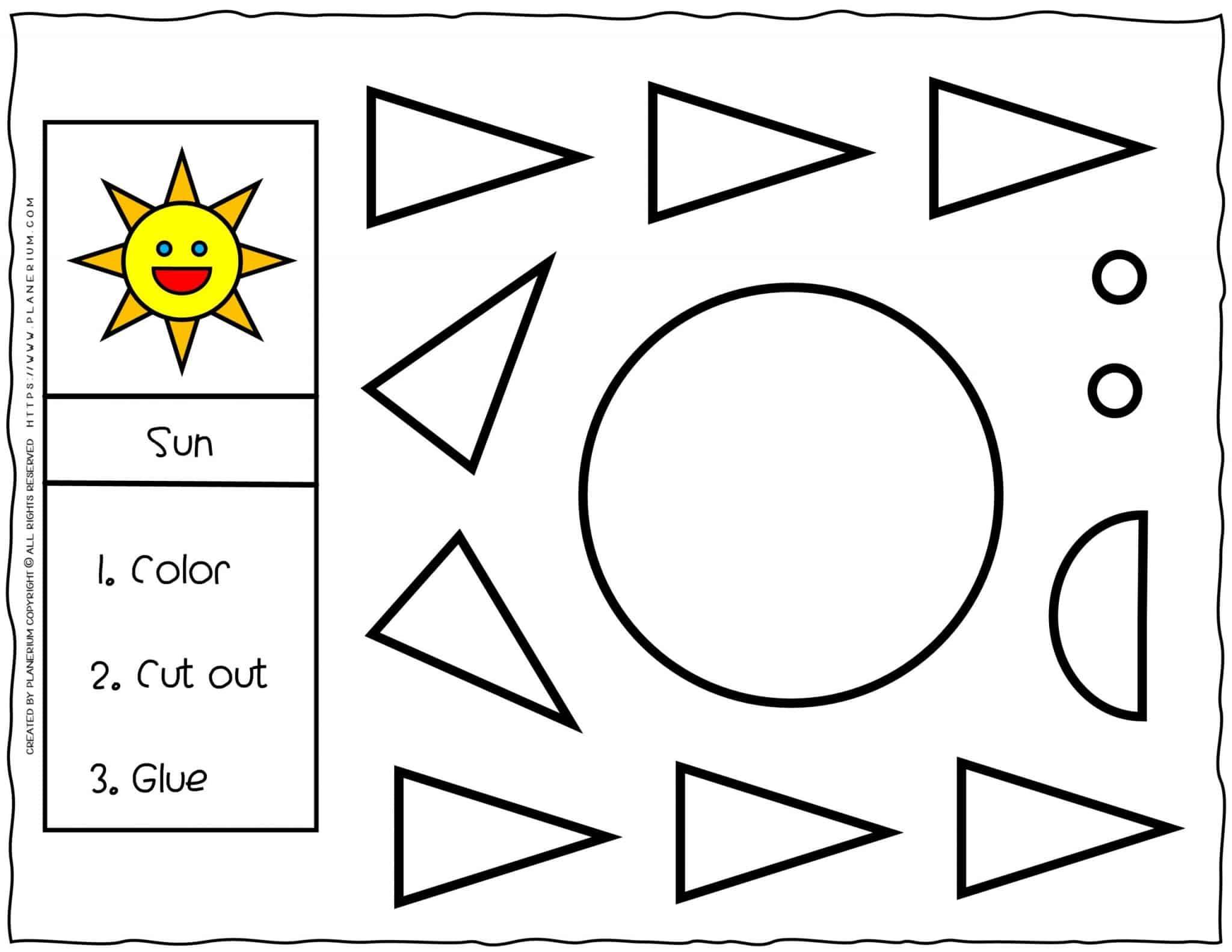 Cut and Glue Worksheet - Sun | Planerium