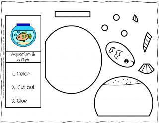 Cut and Glue Worksheets - Aquarium and Fish | Planerium