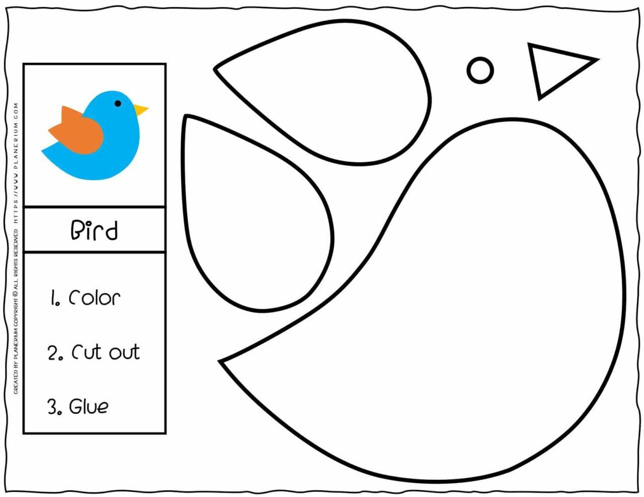 Cut and Glue Worksheets - Bird | Planerium