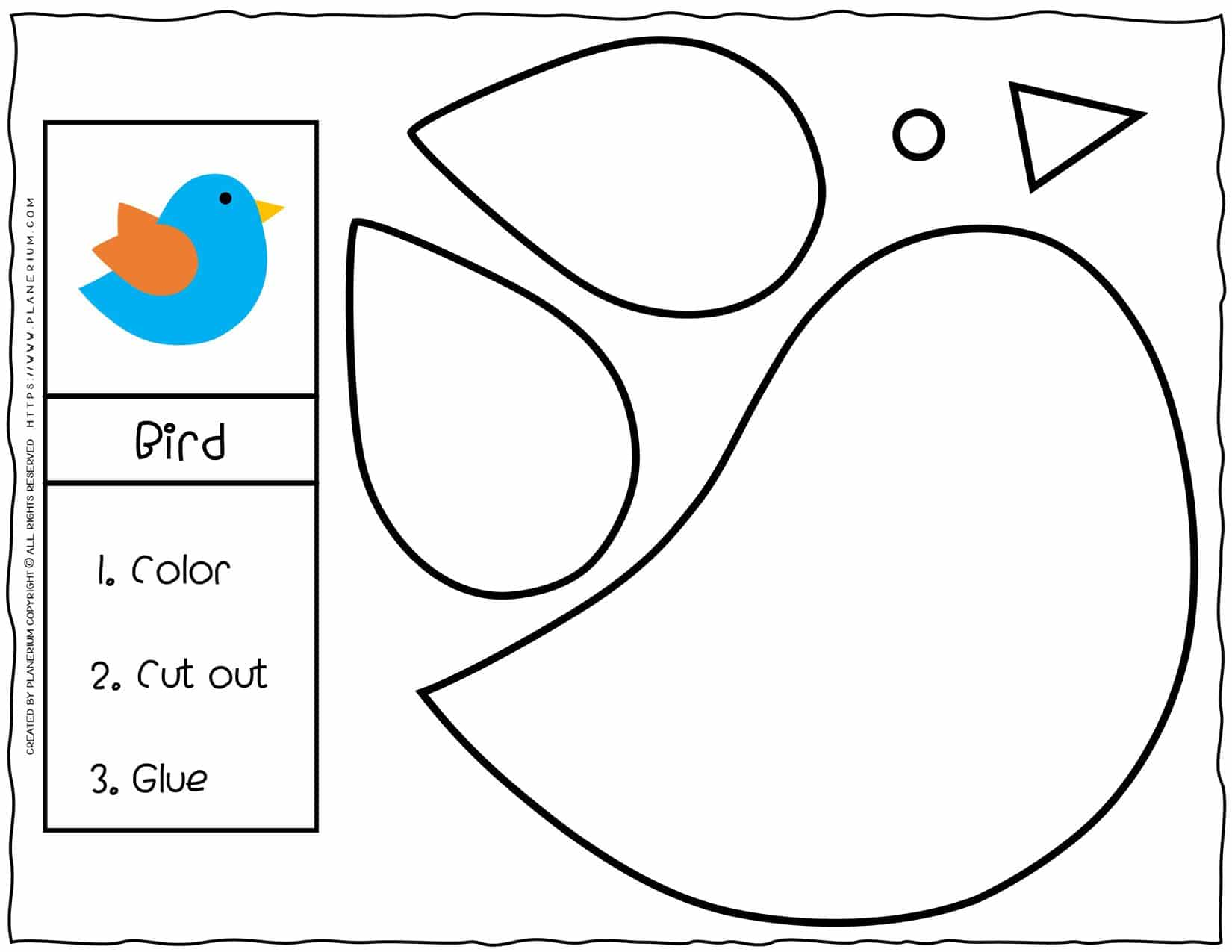 Cut and Glue Worksheets - Bird | Planerium