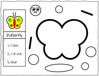 Cut and Glue Worksheets - Butterfly | Planerium
