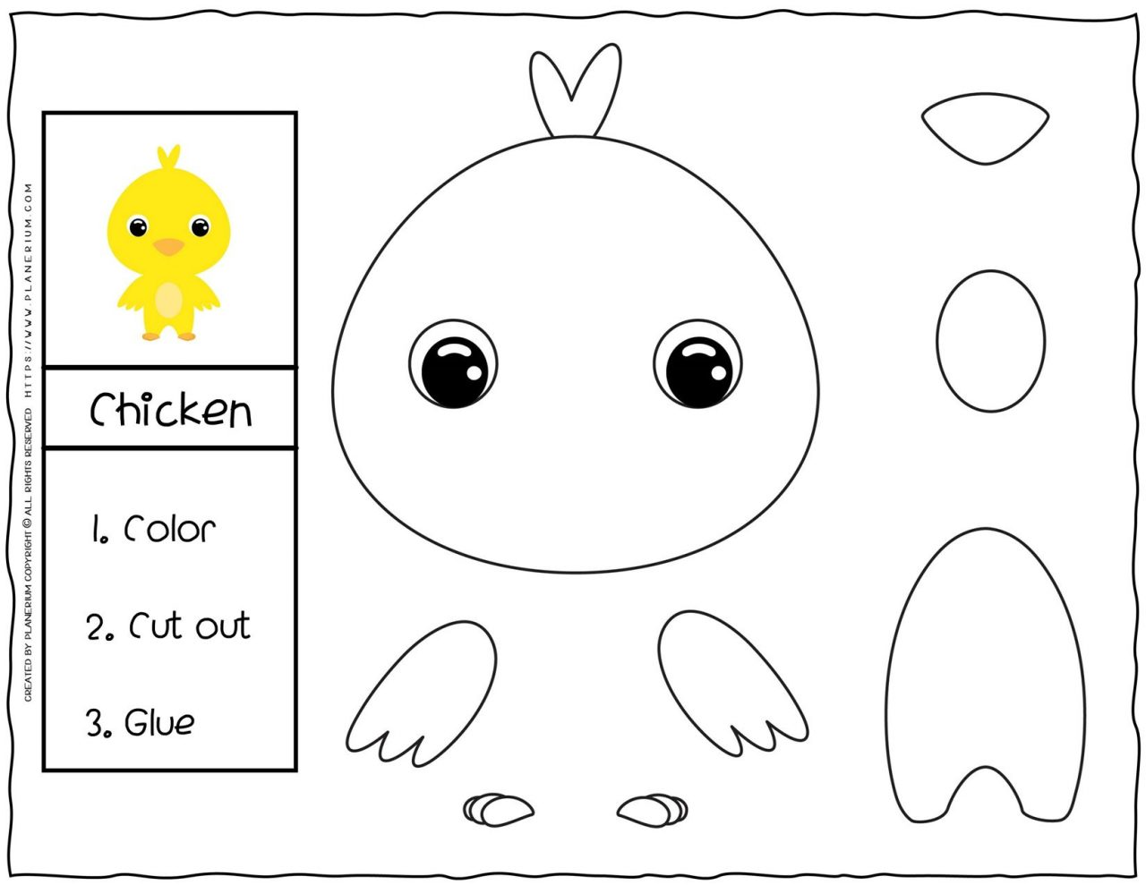 Cut and Glue Worksheets - Chick | Planerium