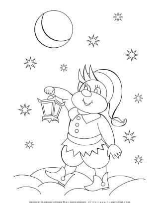 Elf Holding Lantern At Night - Winter Coloring Page | Planerium