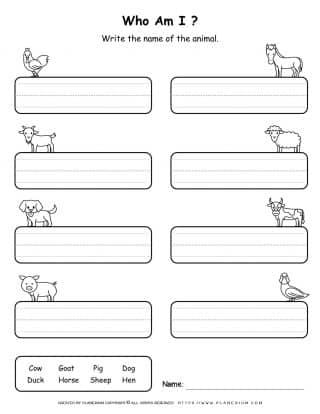 Farm Animals - Writing Names | Planerium