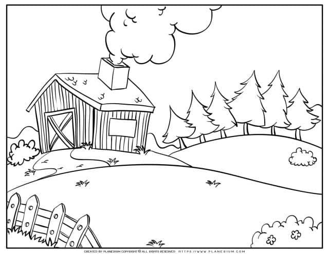 Farmhouse Coloring Page | Planerium