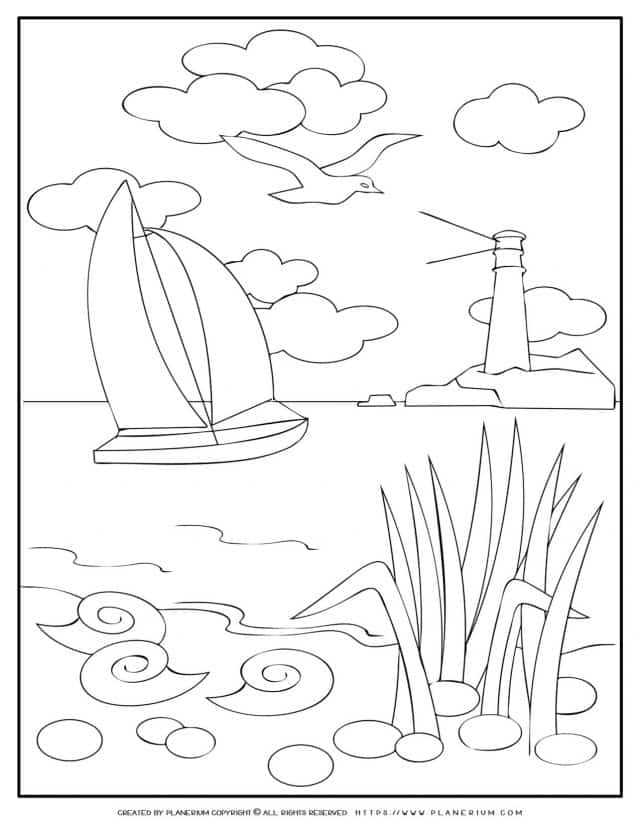 Sailboat - Summer Coloring Pages | Planerium