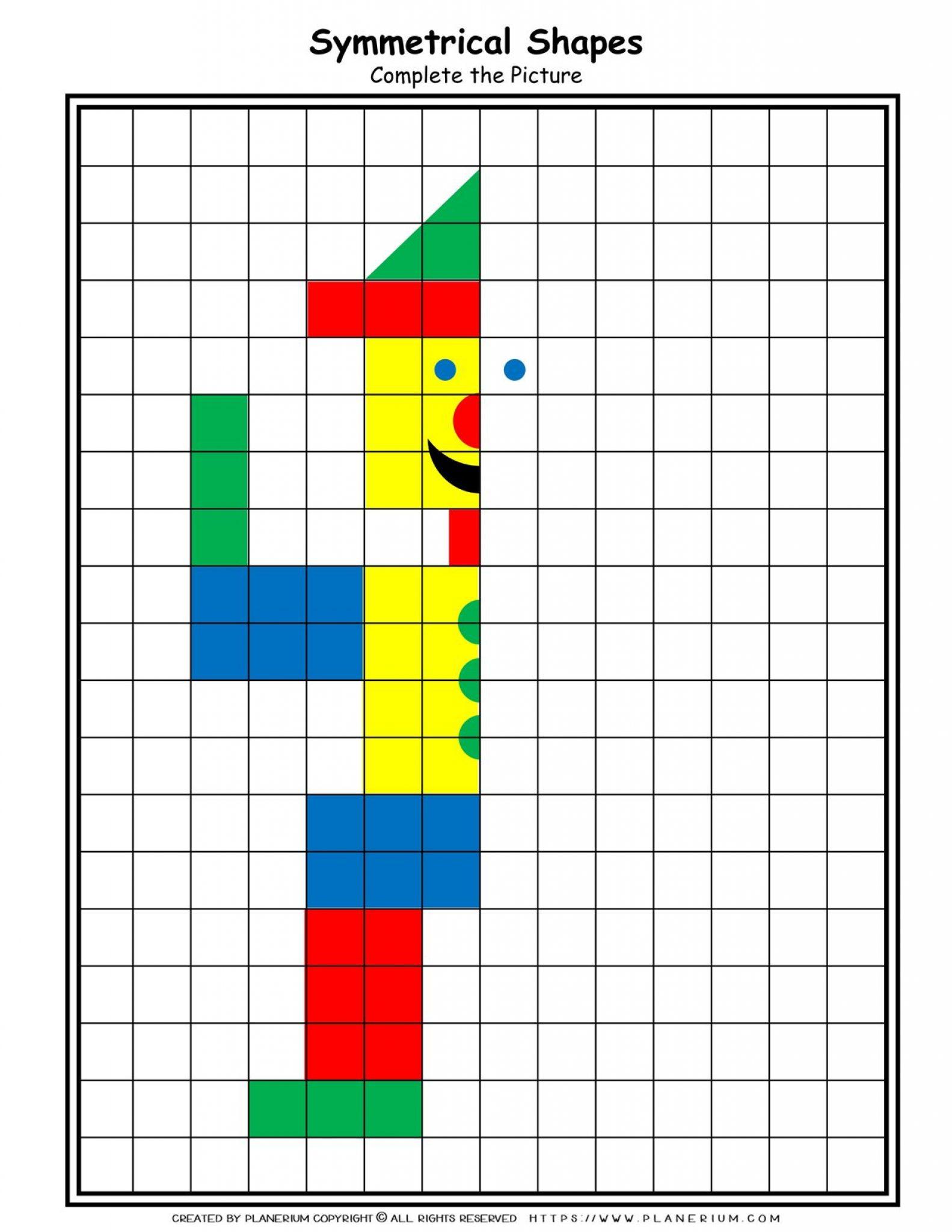 Shapes - Coloring Pages - Symmetrical Clown  Planerium