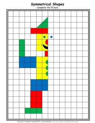 Shapes - Coloring Pages - Symmetrical Clown| Planerium