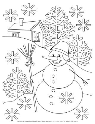 Snowman Holding Broom - Winter Coloring Page | Planerium
