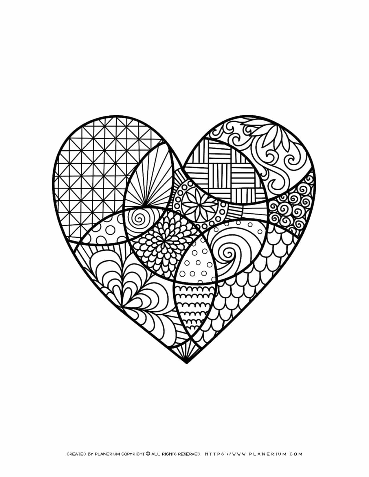 Valentines Day - Coloring Page - Decorative Heart   Planerium