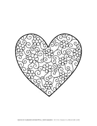 Valentines Day - Coloring Page - Heart Flowers | Planerium