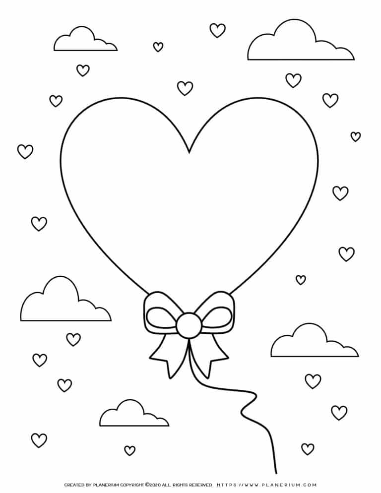 Valentines day - Coloring Page - Heart Balloon With Clouds | Planerium