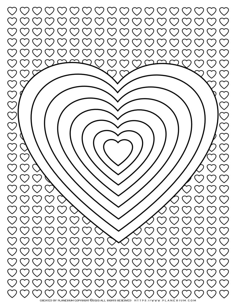 Valentines Day - Coloring Page - Heart Riddles With Hearts Background | Planerium