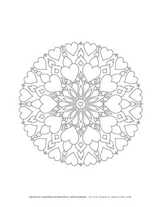 Valentines Day - Coloring Page - Hearts Flower Mandala | Planerium