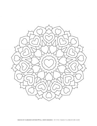 Valentines Day - Coloring Page - Hearts Mandala | Planerium