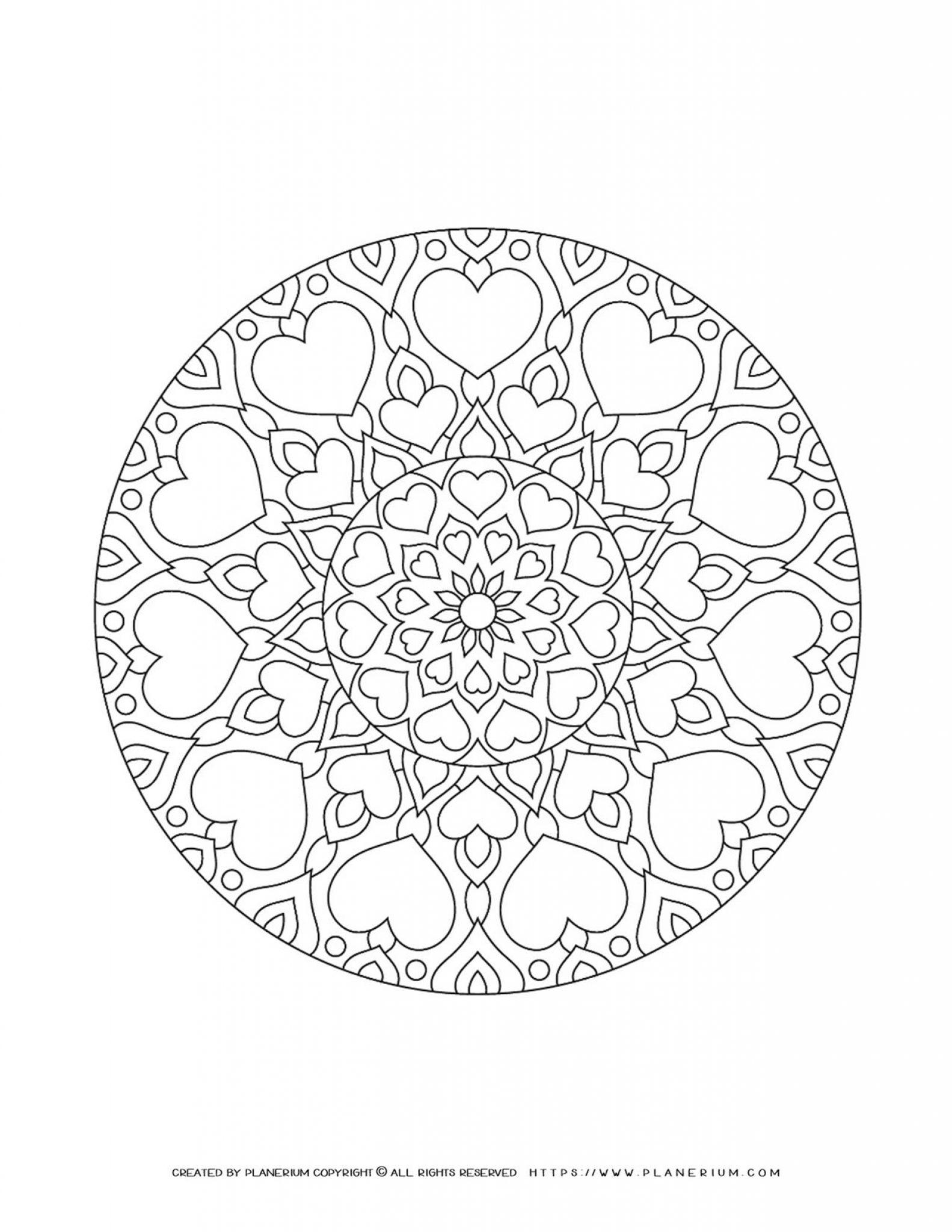 Valentines Day - Coloring Page - Hearts Mandala Closed Circle | Planerium