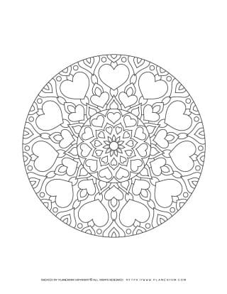 Valentines Day - Coloring Page - Hearts Mandala Closed Circle | Planerium