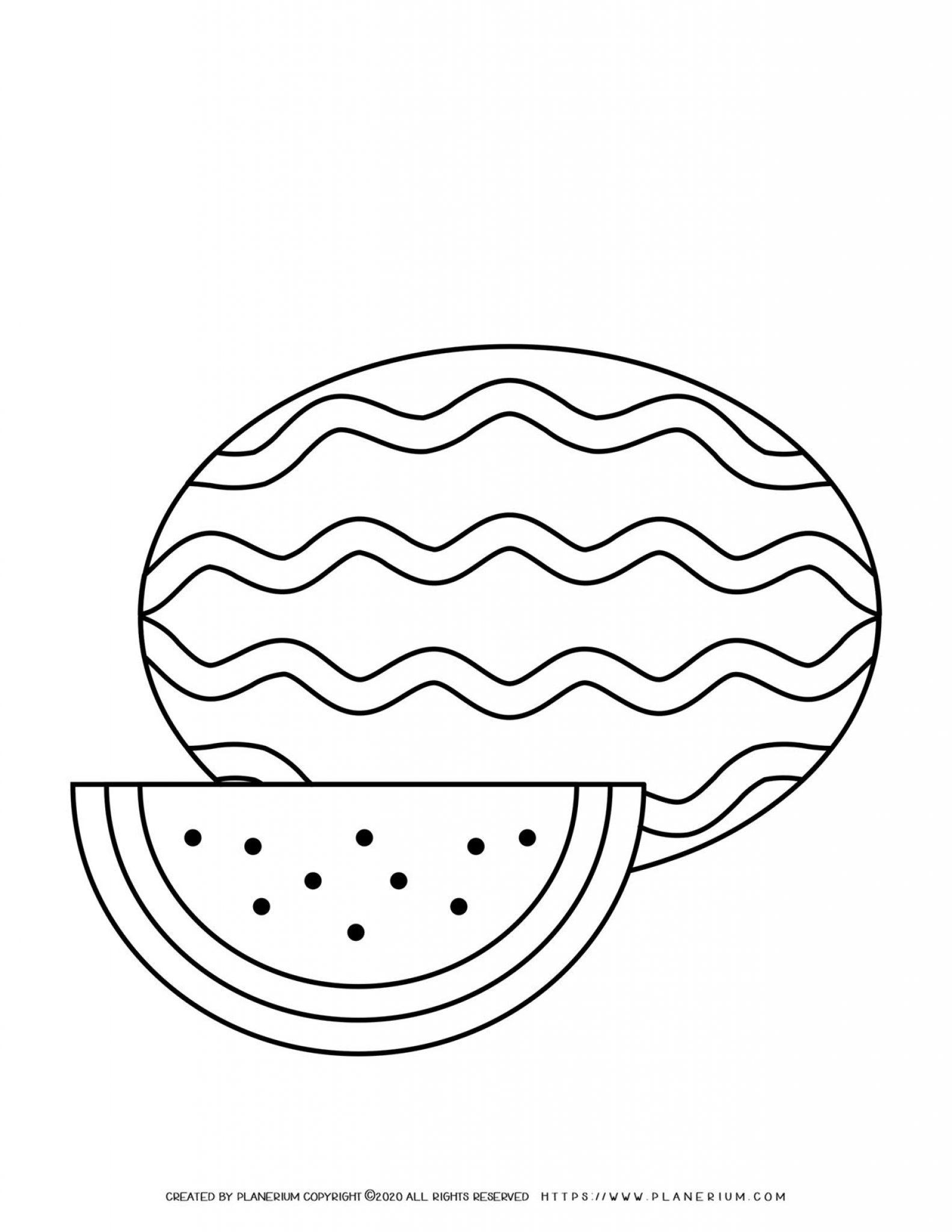 Watermelon - Coloring page | Planerium